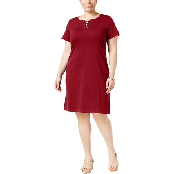 Karen Scott Womens Plus Casual Dress Lace-Up Short Sleeve