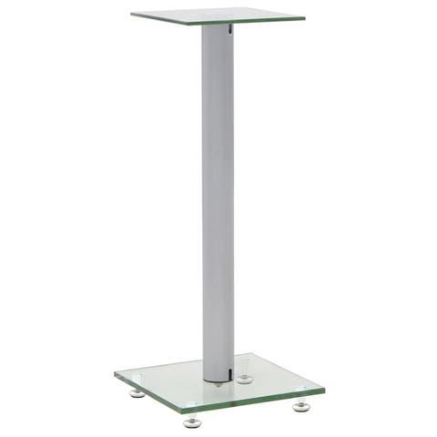 vidaXL Speaker Stands 2 pcs Tempered Glass 1 Pillar Design