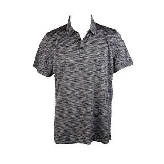 Alfani Black Grey Tobin Marled Polo Shirt S
