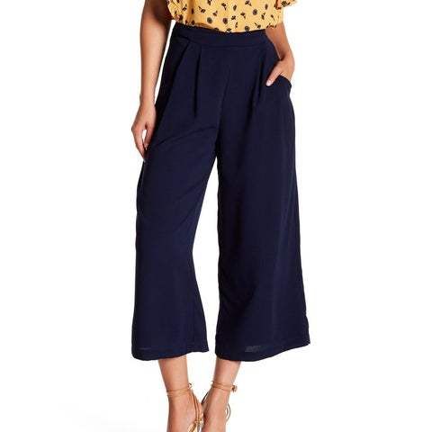 Elodie Blue Womens Size Small S Wide Leg High Waist Cropped Pants