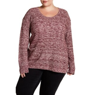 Susina Womens Plus Pullover Single Pocket Knitted Sweater