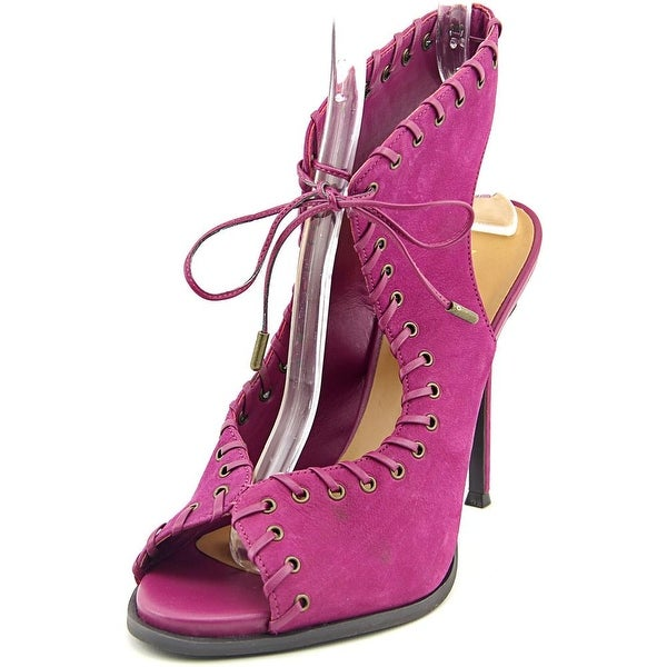 Nine West Hot Stuff Women Open-Toe Leather Purple Heels