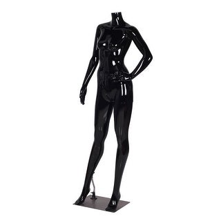 Costway Headless Female Mannequin Plastic Dress Form Display Full Body High Gloss Black