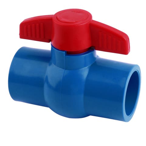 Kitchen Metal Frame Pipe Fitting Connector Ball Valve Blue Red 40mm Inner Diameter