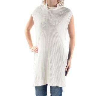 CATHERINE $88 Womens New 1439 Ivory Turtle Neck Sleeveless Tunic Sweater M B+B