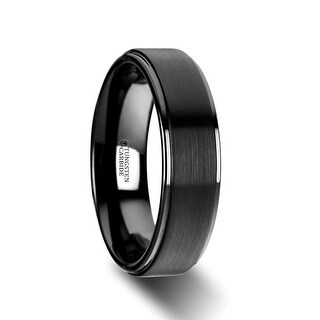 THORSTEN - ORION Flat Black Tungsten Ring with Brushed Raised Center & Polished Edges - 6mm