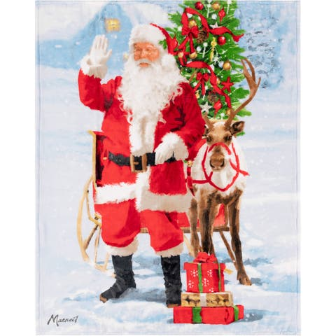 Throw Christmas Santa & Rudolph