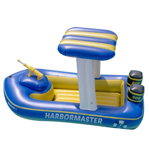 """67"""" Blue and Yellow Harbor Master Patrol Boat with Pump Squirter Swimming Pool Float"""