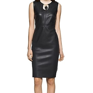 Calvin Klein NEW Black Women's Size 10 Sheath Faux-Leather Dress