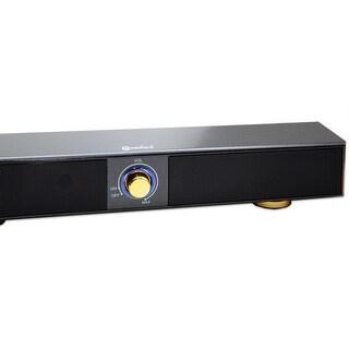 "17"" USB Powered Sound Bar Speaker, Charcoal Wood Finish"