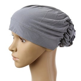Muslim Scarf Kerchief Hat Flower Casual grey