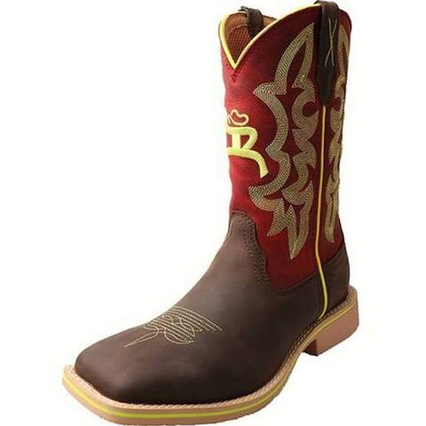 HOOey Western Boots Womens Cowboy Piping Logo Crazy Horse Red