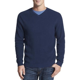 Tommy Bahama Big and Tall Ocean Avenue V-Neck Sweater Navy Blue Cotton Ribbed