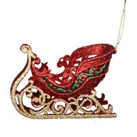 "Club Pack of 12 Red, Green and Gold Glittered Sleigh Christmas Ornaments 5"" - RED"