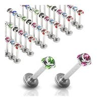 "Surgical Steel Labret, Monroe, Cartilage or Tragus w/ 5-Gem Set 4mm Balls- 14GA 3/8"" Long (Sold Ind.)"