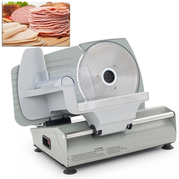 "Della 7.5"" inch Premium Electric Deli Food Meat Slicer Vegetable Adjustable Thickness, Stainless Steel"