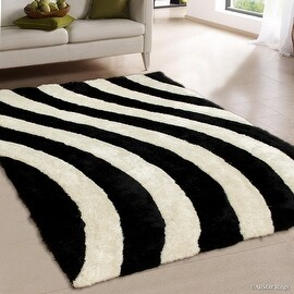 "AllStar Rugs Salt Pepper Shaggy Area Rug with 3D Lines Design. Contemporary Formal Casual Hand Tufted (7' 6"" x 10' 5"")"