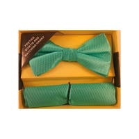 Men's Turquoise Solid Pre Tied Bow Tie And Handkerchief Set - One size