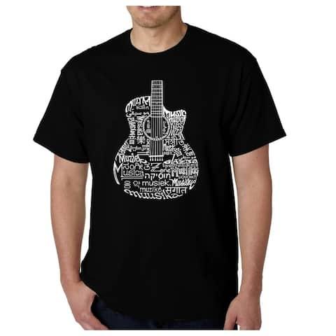 Men's Word Art T-shirt - Languages Guitar