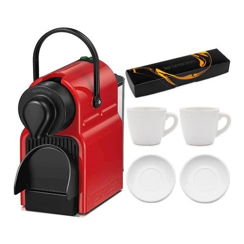 Nespresso Inissia Espresso Maker (Red) with Coffee Pods and Cup Set