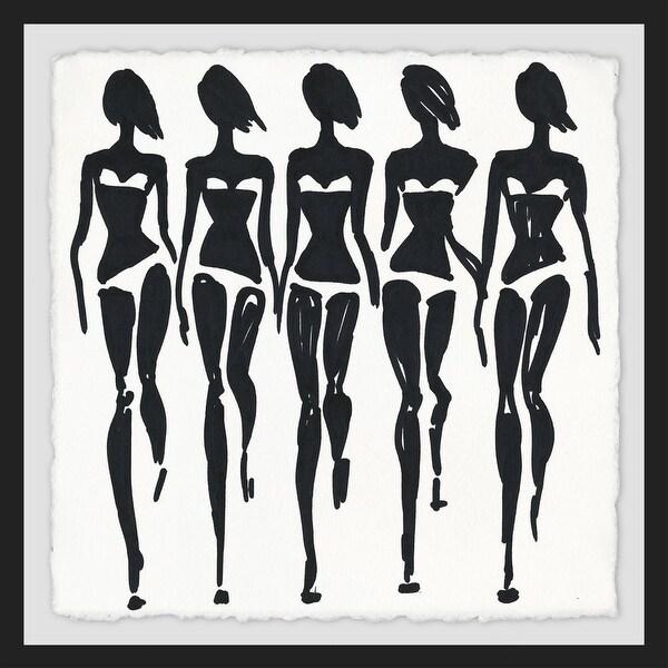 "Marmont Hill MH-ALKFAS-78-BFPFL-40 40"" x 40"" ""Bikini Sashay"" Framed Giclee Painting on Paper - Black"