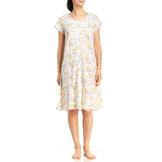 Body Touch Women's Short Sleeve Button Front Floral Nightgown