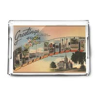 Greetings from Connecticut - Vintage Halftone (Acrylic Serving Tray)