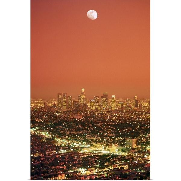 """Los Angeles Civic Center sprawl under moon sunset"" Poster Print"