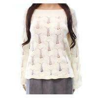 Audele White Ivory Women's Size Medium M Crochet Boat Neck Sweater