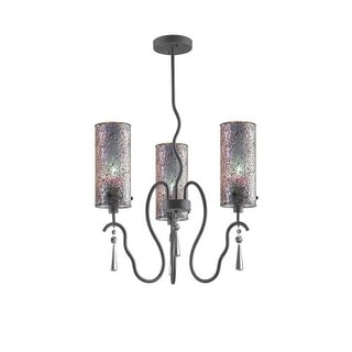 Woodbridge Lighting 14213-M10IRI 3 Light 1 Tier Chandelier with Multi-Colored Glass Shades from the Haley Collection