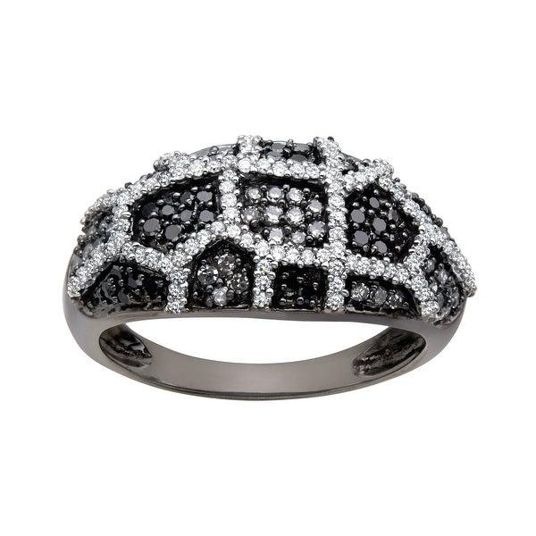 5/8 ct Black and White Diamond Ring in 14K White Gold