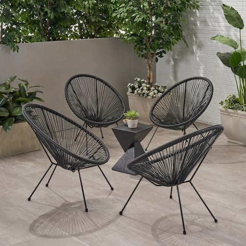 Anson Outdoor Hammock Weave Chair with Steel Frame (Set of 4) by Christopher Knight Home