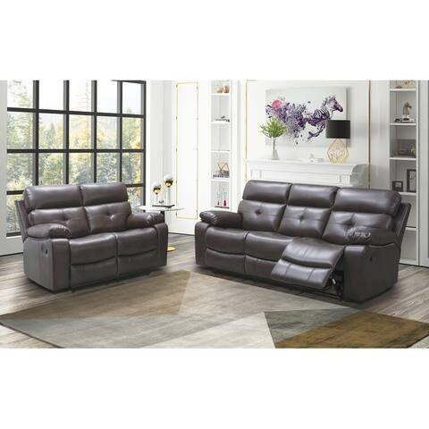 Abbyson Charleston 2-Piece Reclining Sofa and Loveseat