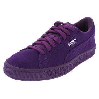 Puma Girls Suede Jr Casual Shoes Suede Low Top (Option: Imperial Purple - 5 medium (b,m) big kid)