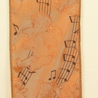 "Metallic Gold Angelic Cherubs Playing Musical Notes Wired Craft Ribbon 3"" x 20 Yards"
