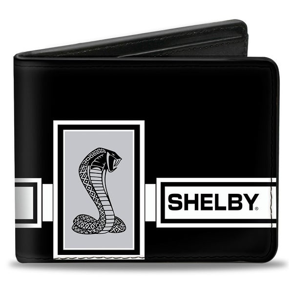 Shelby Gt 500 Cobra Box Stripe Black White Gray Bi Fold Wallet - One Size Fits most