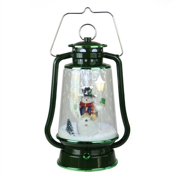 """13.5"""" Green Lighted Musical Snowman Snowing Christmas Table Top Lantern"""