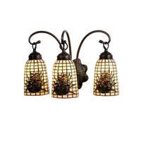 """Meyda Tiffany 18785 Pine Barons 3-Light 18"""" Wide Bathroom Vanity Light with Tiffany Glass Shade - Mahogany Bronze"""
