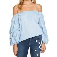 CeCe Blue Womens Size XL Off-Shoulder Dot-Print Striped Blouse