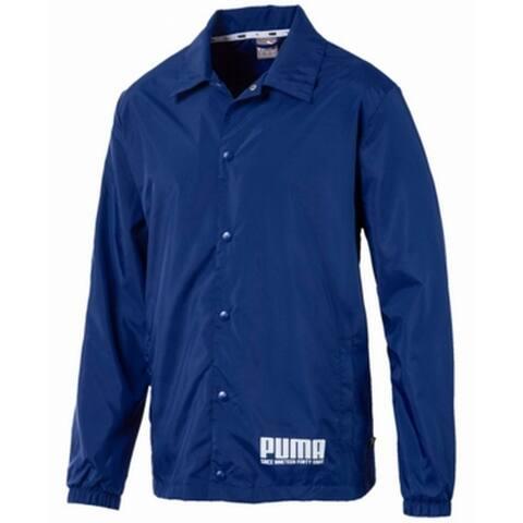 Puma Mens Jacket Sodalite Blue Size Large L Snap Button Windbreaker
