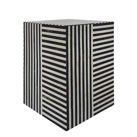 "Resin 19""H, Stripes Square Accent Table, Black - 14Wx14Lx19H"