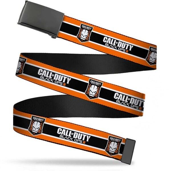 Blank Black Buckle Call Of Duty Black Ops Iii Skull Icon 3 Stripe Web Belt