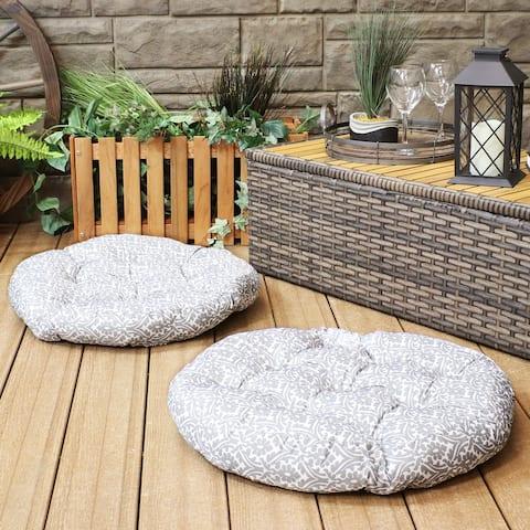 Sunnydaze Polyester Large Round Floor Cushion - Set of 2