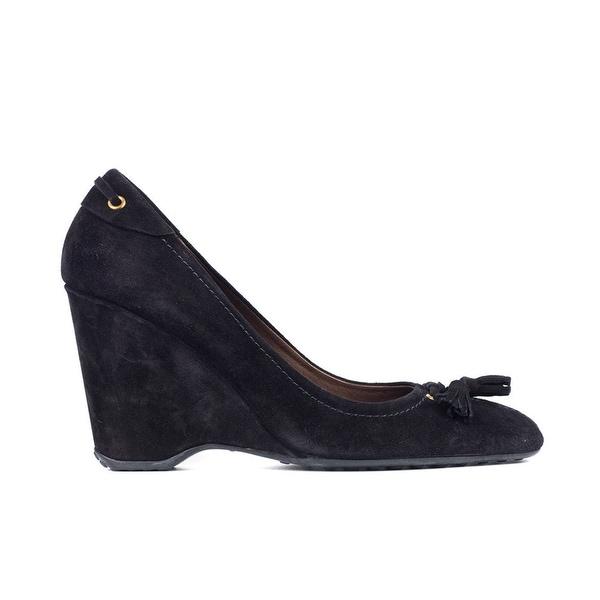 e355fea2 Shop Car Shoe By Prada Womens Black Tassel Suede Wedges Sz 39.5/9.5 ...