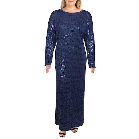 Morgan & Co. Womens Plus Evening Dress Disco Dot Metallic