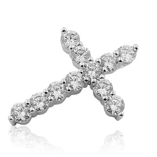 Sterling Silver Cross Charm 30mm Tall With Round Cut CZ