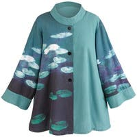 Women's Tunic Jacket - Water Lilies Mandarin Collar Swing Jacket