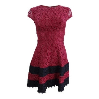 Teeze Me Juniors' Lace Fit & Flare Dress (0, Burgundy/Black) - Burgundy/Black - 0