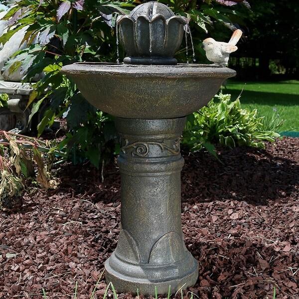 Sunnydaze Blooming Birdbath Outdoor Water Fountain with Bird Accent - 24-Inch
