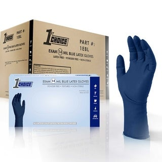 1st Choice Blue Latex 14-Mil Thick Disposable Gloves, Case of 500 - Medical/Exam Grade, Powder-Free